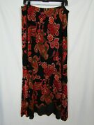 Coldwater Creek Womens Poly Blend Red And Black Floral Maxi Skirt Plus Sz 1x Euc