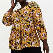 Torrid Golden Yellow Floral Crinkled Gauze Fit And Flare Top Size 3 Plus 3x Nwt