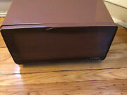 Vintage Lincoln Beautyware Metal Bread Box Cutting Board Brown Pie Cake Cabinet