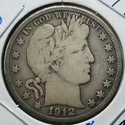 Raw 1912-d Barber 50c Uncertified Ungraded Usa Minted Silver Half Dollar Coin