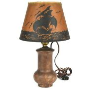 Arts And Crafts Roseville Pottery Rosecraft Blended Lamp W/ship Shade C1917