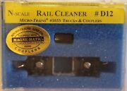 Centerline Products N 60022 D12 Rail Cleaner With Micro-trains Trucks And Couple