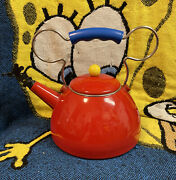 Disney Mickey Mouse Michael Graves Whistling Tea Kettle Red Euc