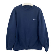 Vintage Nike Menand039s Size Xl Pullover Blue Crewneck Swoosh Spellout Logo Sweater