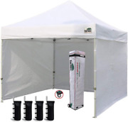 Eurmax 10'x10' Ez Pop-up Canopy Tent Commercial Instant Canopies With 4 Removabl
