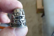 Vintage Sterling Thimble Cherub W Butterfly With Rubies Sewing Thimble 925