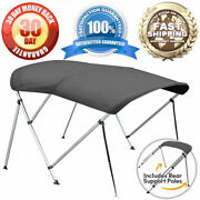 3 Bow Boat Bimini Top Kit Grey 6ft Cover With Hardware 6and039 L X 46 H X 79-84 W