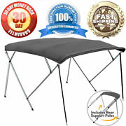 Grey 4-bow 1 Frame Bimini Top Cover Boat 8and039l X 54h X 91-96w - Storage Boot