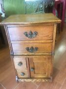 Antique Oak Wood Night Stand / End Table Four Draws And A Door Great Hardware