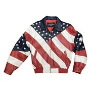 Leather Gallery American Flag Leather Jacket Menand039s M Stars And Stripes Patriotic