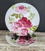 222 Fifth Summer Rose Salad Plate Set Of 2 New Cottage Country Pink Floral 8.75