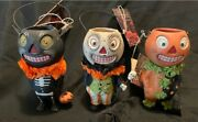 Retired Bethany Lowe Halloween Candy Container Trio Pumpkin Heads Black Cat