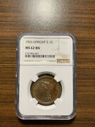 1856-p Upright 5 Five Braided Hair Large Cent 1c Ngc Ms 62 Brown Bn Rare Grade