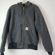 Vintage Lined Mens Hooded Jacket Active Duck Distressed Faded Black L