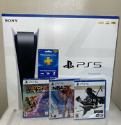 Ps5 -playstation 5 Console Disc Version Bundle 3 Games And Ps + 1 Year Fast Ship