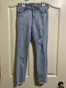 Tillys Girls Rsq Jeans Light Blue Ripped Baja Ankle Size 14