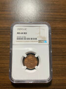 1929-s Lincoln Wheat Penny Cent 1c Ngc Ms 64 Red Rd Type 1 Wheat Reverse