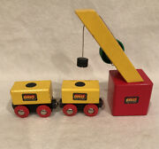 Brio Wood Crane Toy W Load Blocks And Cars X2 Made In Sweden Euc 1991