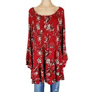 Womens 2x Top Peasant Blouse Shirt Tunic Plus Size Floral Print Smocked Flowy
