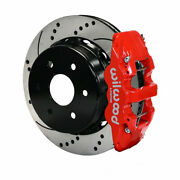 Wilwood For Gm 1500-suv 1999-2010 Truck Brake Kit Aero4 Rear 14.25in Drill Red