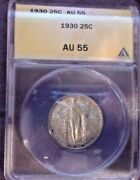 Anacs Au55 1930 Liberty Standing Silver Quarter-old Us Coin