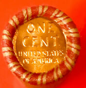 Tails / Tails Original Bank Wrapped Roll Bu Lincoln Wheat Cent Penny Roll