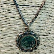 Hand Made 925 Sterling Silver Necklace With A Round Roman Coin Pendant