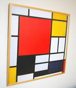 Swimming Pool Mondrian Premium Wooden Framed Art Poster Composition With Lines
