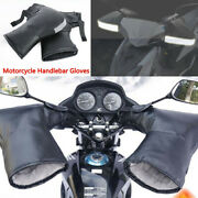 Pu Leather Motorcycle Handlebar Gloves Hand Fur Muffs Winter Thermal Warm Mitts