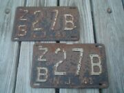 Matching Pair Of Old Vintage Antique 1941 New Jersey Nj License Plates - Zb27b