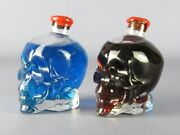 2 Ornament Bottles Decorative Design Skull With Water Colorful