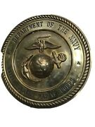 Vintage Department Of The Navy United States Marine Corps Brass Wall Plaque 11andrdquo.