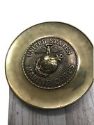 Vintage United States Marine Corps Brass Wall Plaque 10 1/2andrdquo 2 1/2 Pounds Nice