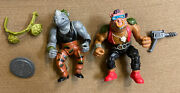 1988 Tmnt Mirage Studios Bebop And Rocksteady Figure Lot With Accessories