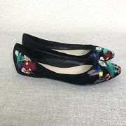 Nine West Flats Size 7 Black Suede Embroidered Pointed Toe Humming Bird
