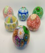 Set Of 6 Vintage Millefiori Hand Made, Hand Sculpted Egg Candles