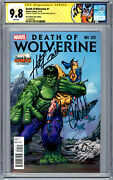 Death Of Wolverine 1 Cgc-ss 9.8 Herb Trimpe Variant Sig 2x Trimpe And Soule 2014
