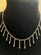 14k Solid White Gold Beaded Ball Chain Cleopatra Style Collar Necklace 16 12.4