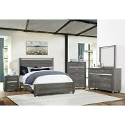 Transitional Rustic 4pc Queen Bed Dresser Mirror Nightstand Gray Furniture Set