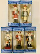 Nutcracker Lot 5 Wooden 4andrdquo Christmas Tree Holiday Ornaments With Back Lever Nib