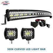 For Jeep Cherokee Xj 1032w 50 Curved Led Light Bar Roof Driving + 4 Combo Pods