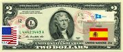 2 Dollars 2013 Stamp Cancel Flag Un From Spain Lucky Money Value 150