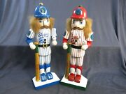 Two Nutcracker Village Baseball Players Red Team 2000 And Blue Team 2001 Christmas