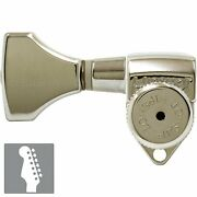 New Hipshot Locking Tuners 6 In Line Set Staggered Treble Left-handed - Nickel