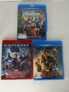 Lot Of 3 Marvel Blu-ray Movies The Avangers, Avangers Age Of Ultron Iron Man 3