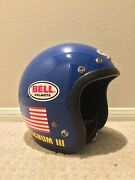 Vintage Bell Magnum Iii White Motorcycle Mag 3 Helmet 6 And 7/8 55 Cm Snell