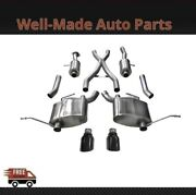 Corsa 304 Ss Cat-back Exhaust System W/split Rear Exit For 11-21 Jeep 14980blk
