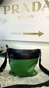 Coach Bag Man-woman Hands-free In Leather-color Black- Green-used