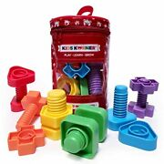 Jumbo Nuts And Bolts For Toddlers - Fine Motor Skills Rainbow Matching Game M...