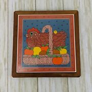 Vintage 1982 Taylor And Ng Chicken In A Basket Trivet Wall Decor Farmhouse Kitchen